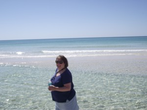 Writer, retreat attendee, Linda Spear enjoys a quiet walk on the beach