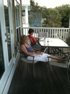 Writer's writing at the beach